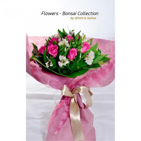 Μπουκέτο με ροζ τριαντάφυλλα & αλστρομέριες
