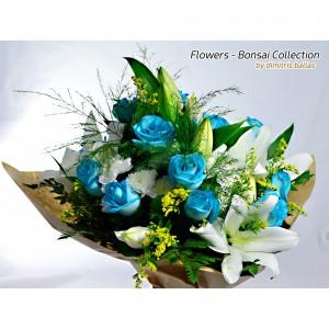 Μπουκέτο με oriental & γαλάζια τριαντάφυλλα
