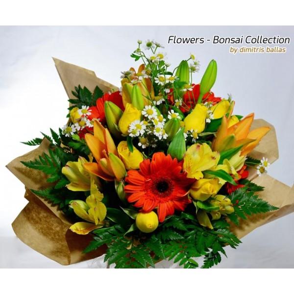 Μπουκέτο με κίτρινα τριαντάφυλλα, λίλιουμ και άλλα