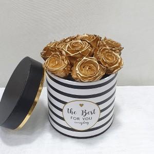 Στρογγυλό κουτί με forever roses  χρυσά