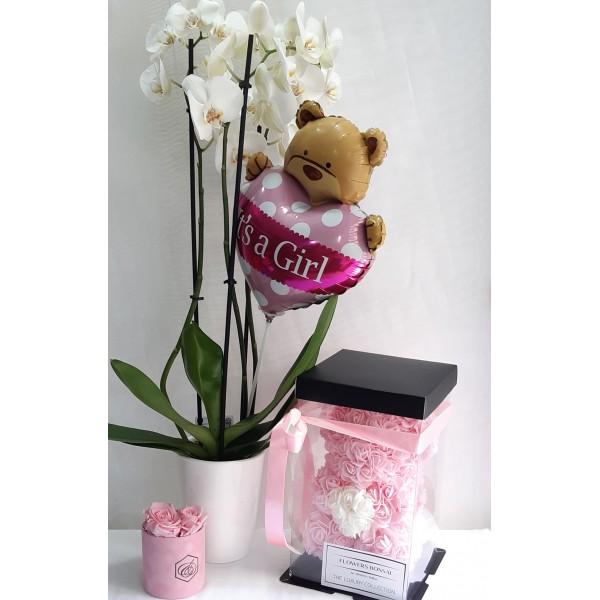 Ορχιδέα λευκή με μπαλόνι, λούτρινο & rose bear