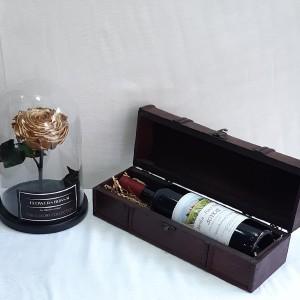 Μπουκάλι κρασί και forever rose gold