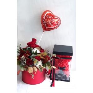 Rose Bear, Flower Box & μπαλόνι