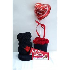 Forever roses Box, rose bear & σοκολάτες