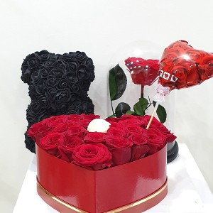 Rose Bear, Forever Rose, Flower Box & μπαλόνι