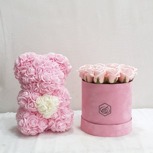 Soap roses box & rose bear all in pink