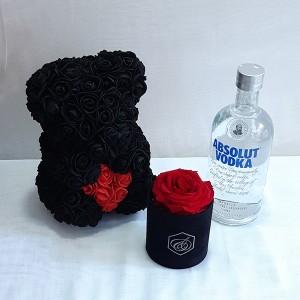 Forever rose, rose bear & Absolut Vodka