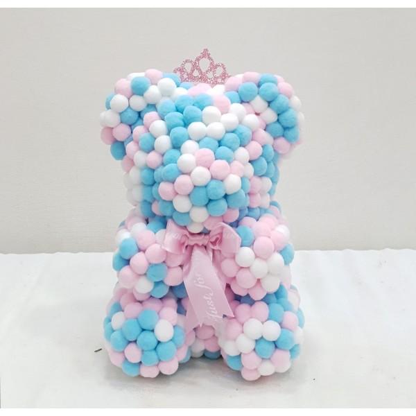Μικρό γαλάζιο ροζ λευκό Rose Bear E-Shop