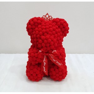 Μικρό κόκκινο αρκουδάκι pom pom