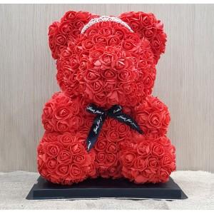 Μεγάλο κόκκινο Rose Bear με στέμα
