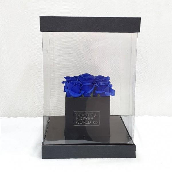 Soap Blue roses σε διάφανο κουτί
