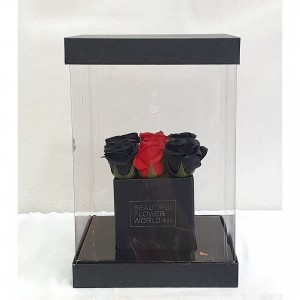 Soap Black & Red roses σε διάφανο κουτί