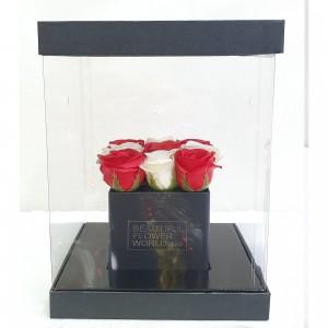 Soap White  & Red roses σε διάφανο κουτί