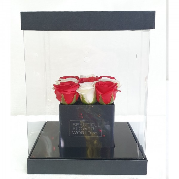 Soap White  & Red roses σε διάφανο κουτί