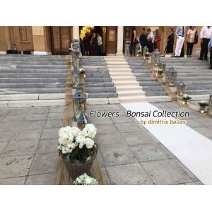 Στολισμος Εκκλησιας - Στολισμός γάμου με βαζάκια και κορμούς δέντρων Αγ. Φωτεινή - Νέα Σμύρνη Στολισμοί σε Εκκλησία