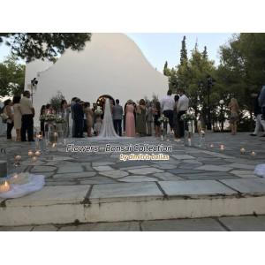 Στολισμος Εκκλησιας - Άγιος Γεώργιος - Καβούρι . Στολισμός γάμου με γυάλες