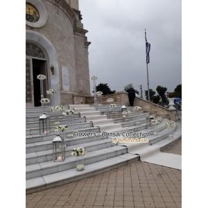 Στολισμος Εκκλησιας - Απλός στολισμός γάμου με γυάλες Άγ. Κωνσταντίνος - Γλυφάδα Στολισμοί σε Εκκλησία