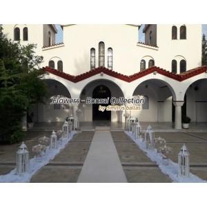 Στολισμος Εκκλησιας - Γάμος με γυάλες στην Παναγίτσα Πετρούπολης σε λευκό & ροζ Στολισμοί σε Εκκλησία